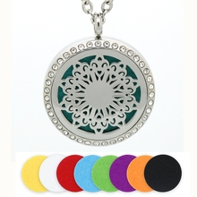 New Arrival Essential Oil Diffuser Perfume Locket Pendant 30MM Round Aromatherapy Stainless Steel Flower Hollow Floating