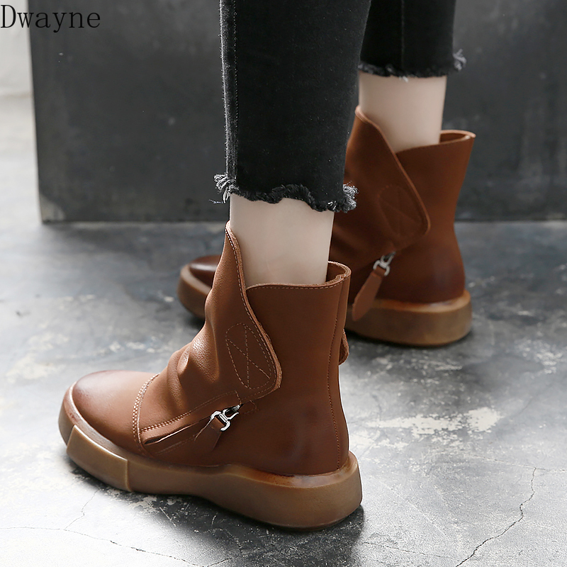 Cuir Martin bottes femme 2019 nouveau britannique vent plat fond sauvage bottes fond épais Chelsea bottes femmes