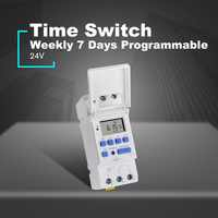 SINOTIMER AC/DC 12V Weekly 7 Days Programmable Digital Time Switch Relay Timer Control Din Rail Mount for Electric Appliance