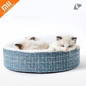 Image 1 - Youpin cama de gato para dormir profunda, cálida, además de terciopelo, perrera Universal extraíble y lavable para mascotas, cama para perros pequeños de peluche