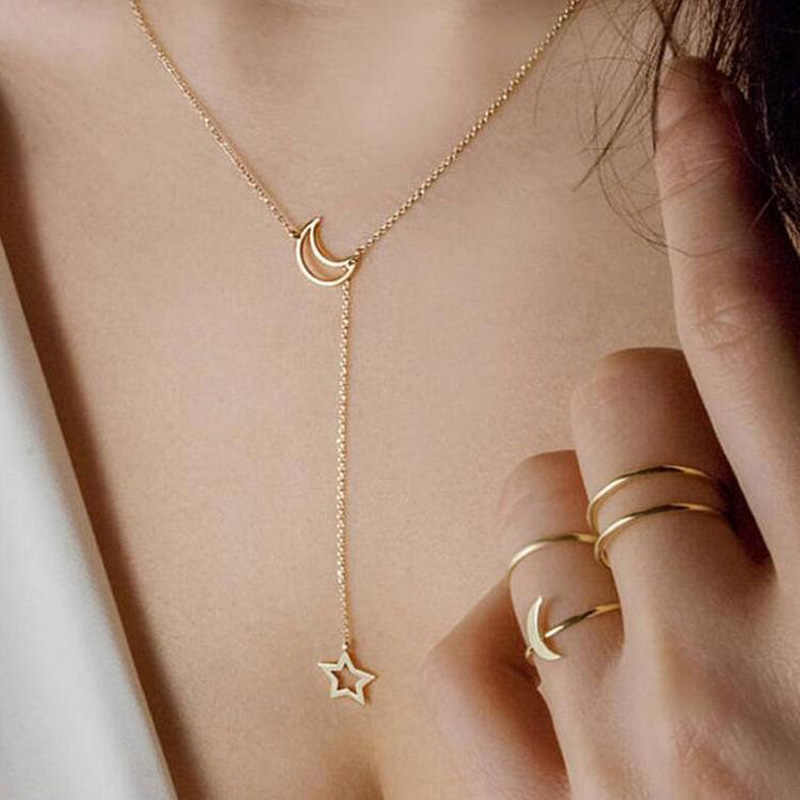 Bohemian  Pendant Necklaces For Women Fashion Gold/silver color Simple moon stars Charm Chains Necklace Jewelry Wholesale