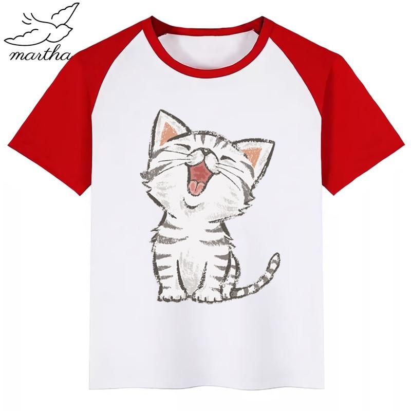 Camiseta con estampado de gato feliz American Short para niños y niñas, camisetas de manga corta de verano para niños, divertida camiseta bonita, ropa de bebé