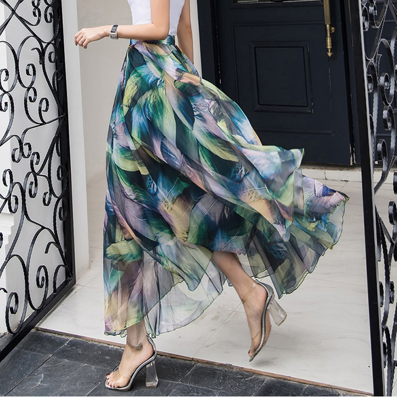 Womens Elastic Waist Chiffon Elegant Long Ladies Beach Holiday Floral 8M Big-Swing Streetwear Female Bohemia Half-Long Skirt