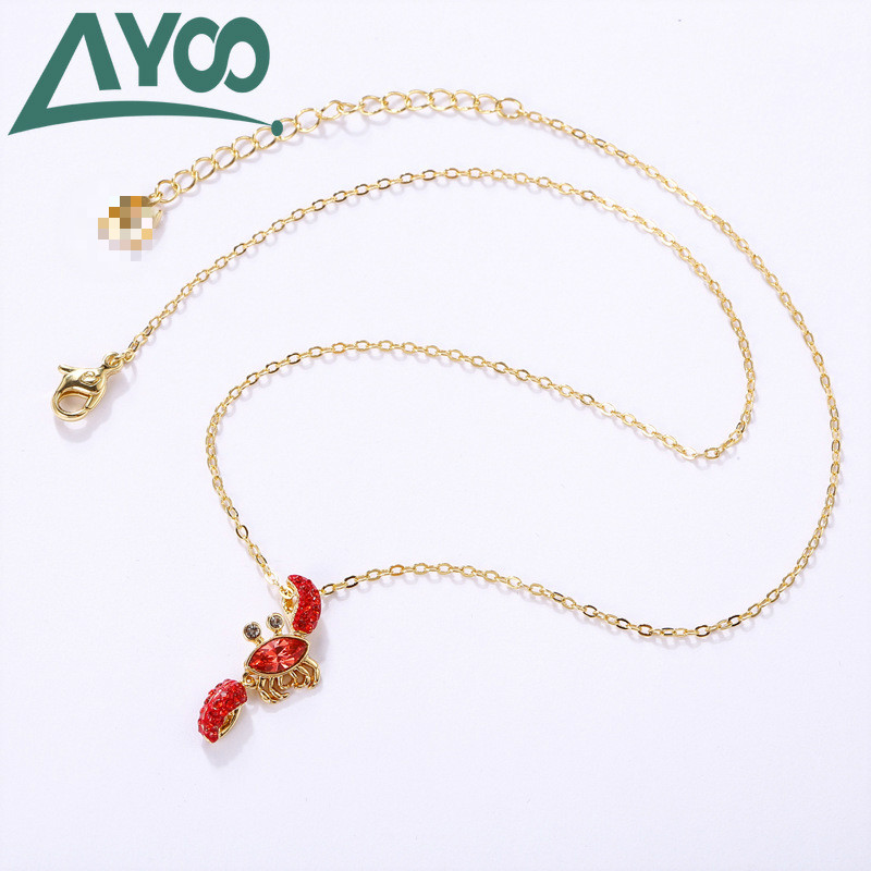 AYOO SWA High Quality Romantic Red Crab Pendant Clavicle Chain Necklace Fashion Necklace