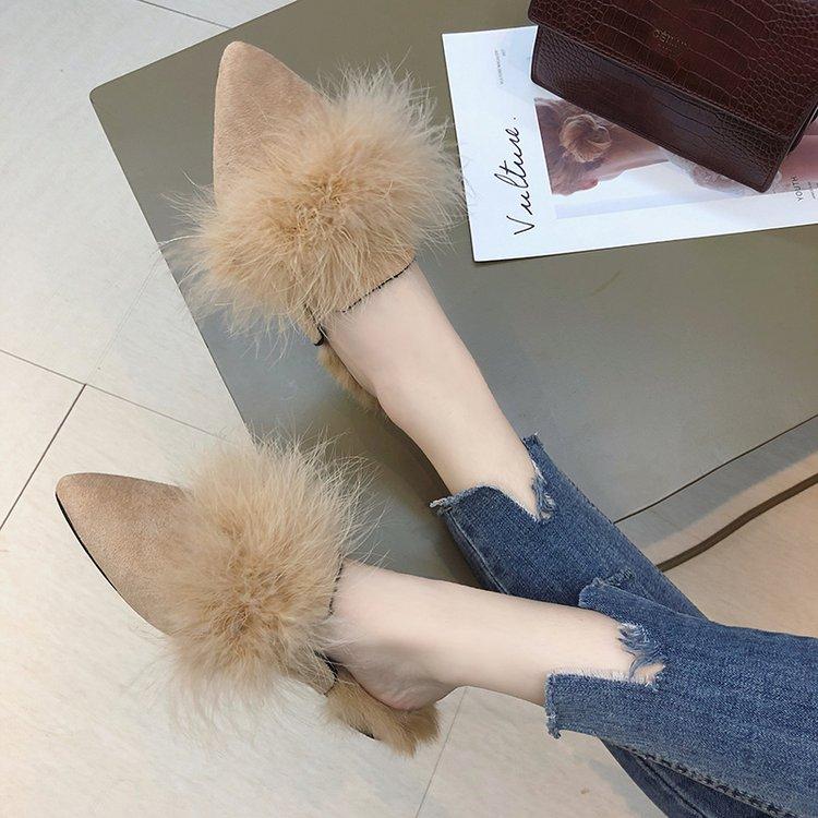 Autumn Winter women Flats shoes women Shallow Slip-On Pointed Toe women shoes Casual Plush fur Shoes woman Mujer Zapatos 24