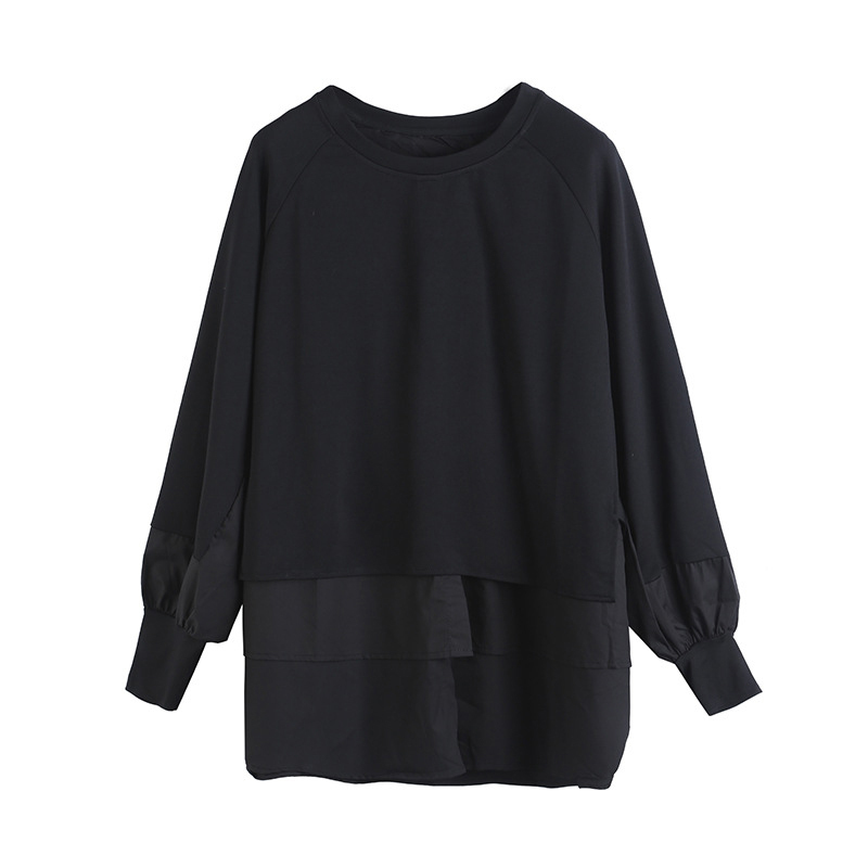 [EAM] Women Army Green Irregular Split Joint Big Size T-shirt New Round Neck Long Sleeve  Fashion Spring Autumn 2020 1DA608 6