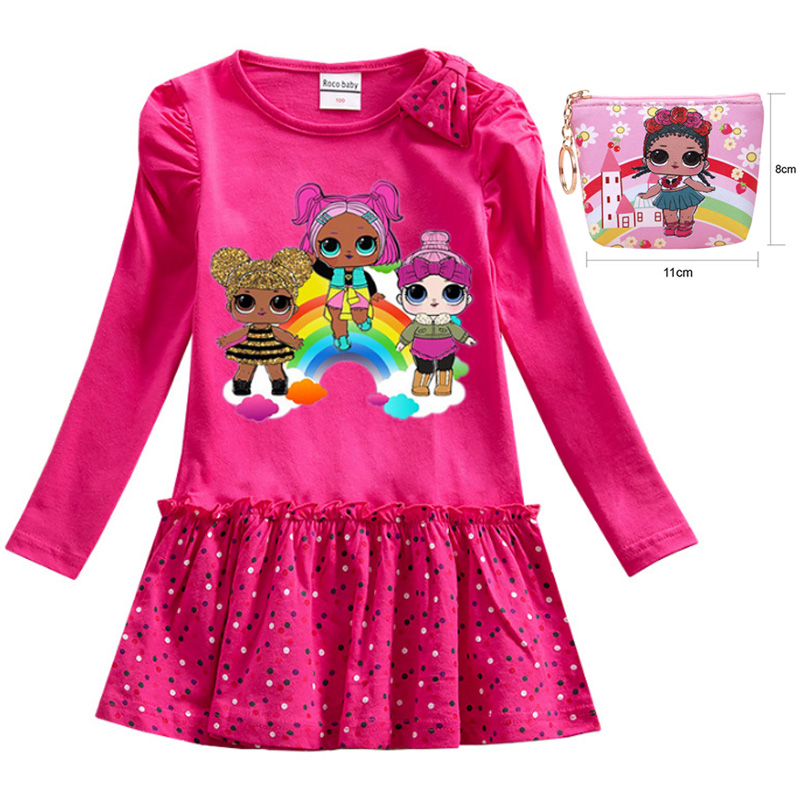 2020 Spring And Autumn LOL Girl Doll Wooden Fungus Skirt Surprise Cartoon Long Sleeve Polka Dot Dress