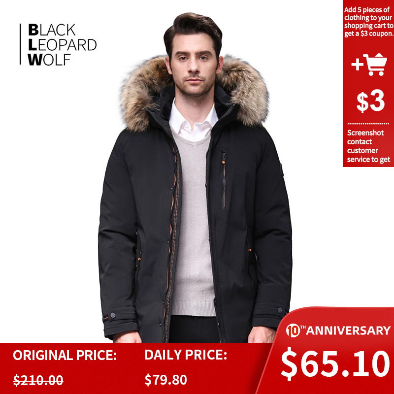 Blackleopardwolf 2019 Winter Down Jacket Men Thick Parka Men Alaska Windproof Detachable Outwear Luxury Fur BL-1002M
