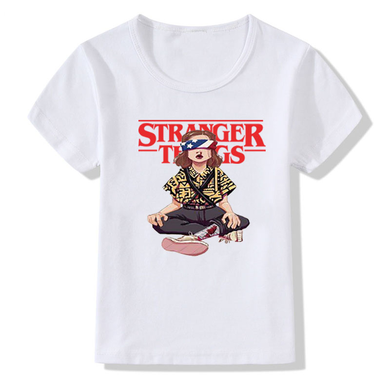 Boys And Girls T Shirt Stranger Things Will's Message Print T Shirt Kids Summer Casual White Tops Children Funny T-shirt Tops
