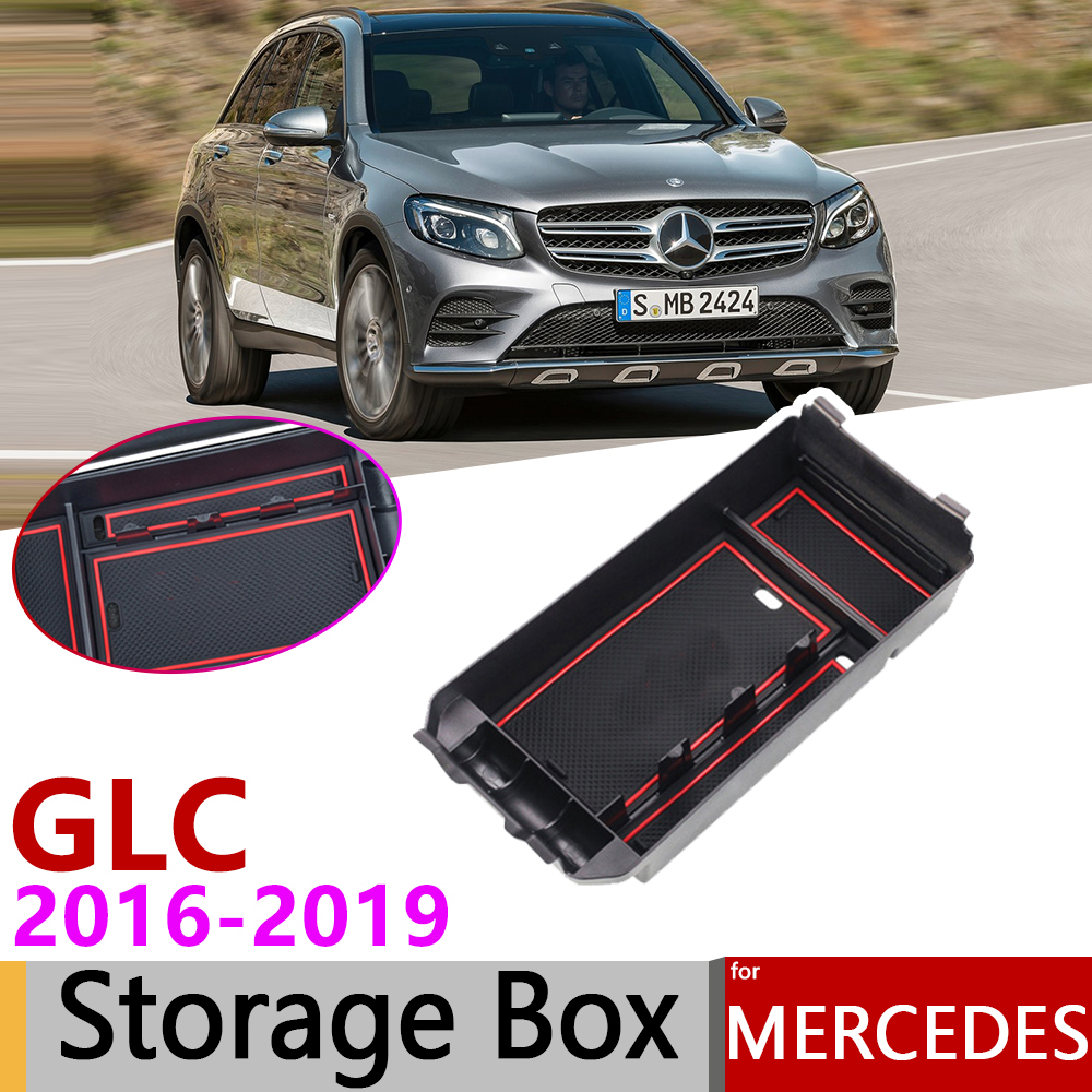 for Mercedes Benz GLC X253 GLC Coupe 200 250 300 220d 250d 43 63 AMG 2016~2019 of Armrest Box Storage Car Organizer Accessories|Car Stickers| |  - title=