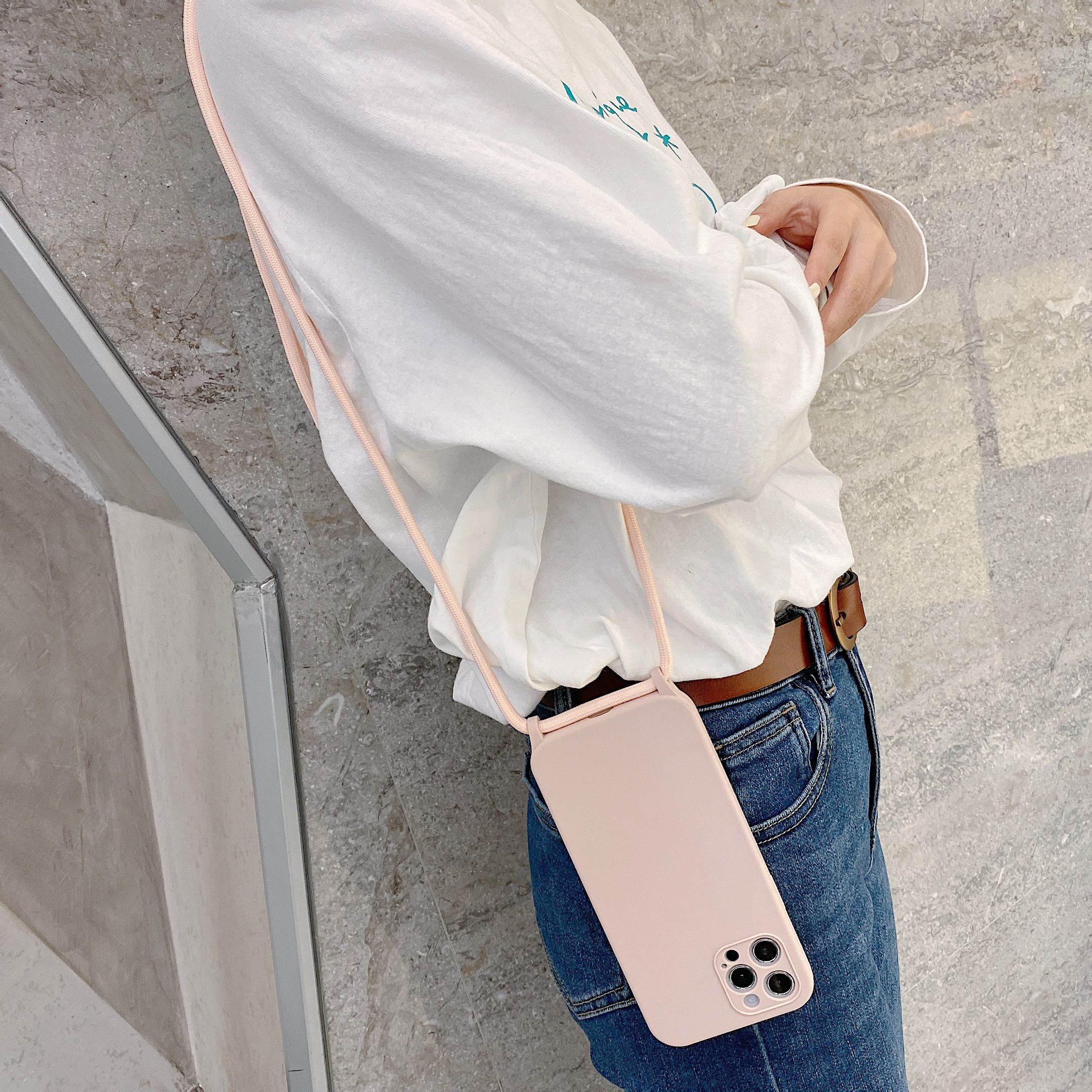 Crossbody Lanyard Liquid Silicone Case For iPhone 12 11 Pro Max XS X XR SE 2020 8 7 Plus Holder Neck Strap Cord Soft Color Cover 2