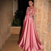 Gorgeous Satin Jewel Neckline A Line Evening Dresses With Lace Appliques Long Sleeves Coral Prom Dress vestido gala