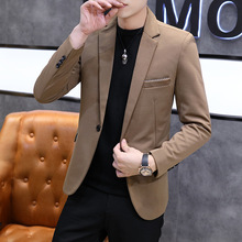 2020 Men's New Autumn Solid Color Casual Suit Youth Elastic Fabric Fashion Slim blazers
