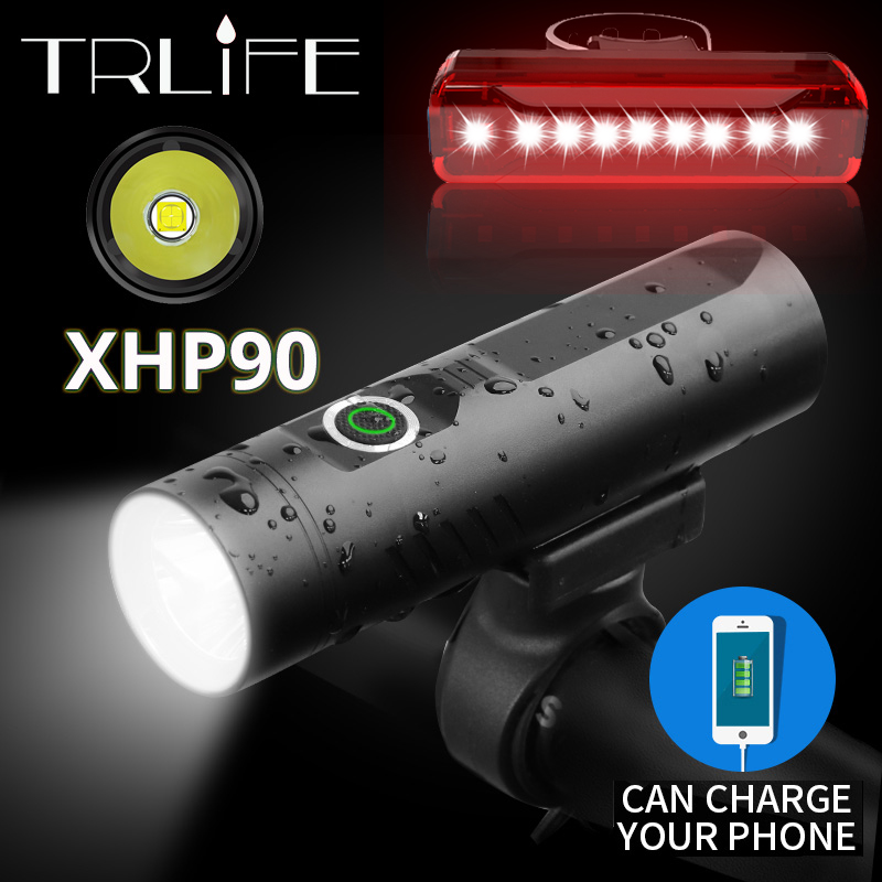 Powerful Glare Flashlight Super Bright For Bicycle Light XHP90 P50 L2 T6 Torch USB Rechargeable Battery Cycling As Power Bank