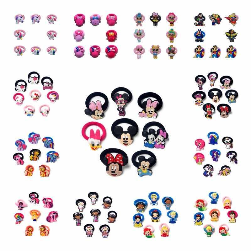 8 stks/partij Mickey Minnie Eenhoorn Prinses Kids Elastische Haarband Baby Rubber Hoofdband Hoofddeksels Kinderen Haaraccessoires Haarspeldjes
