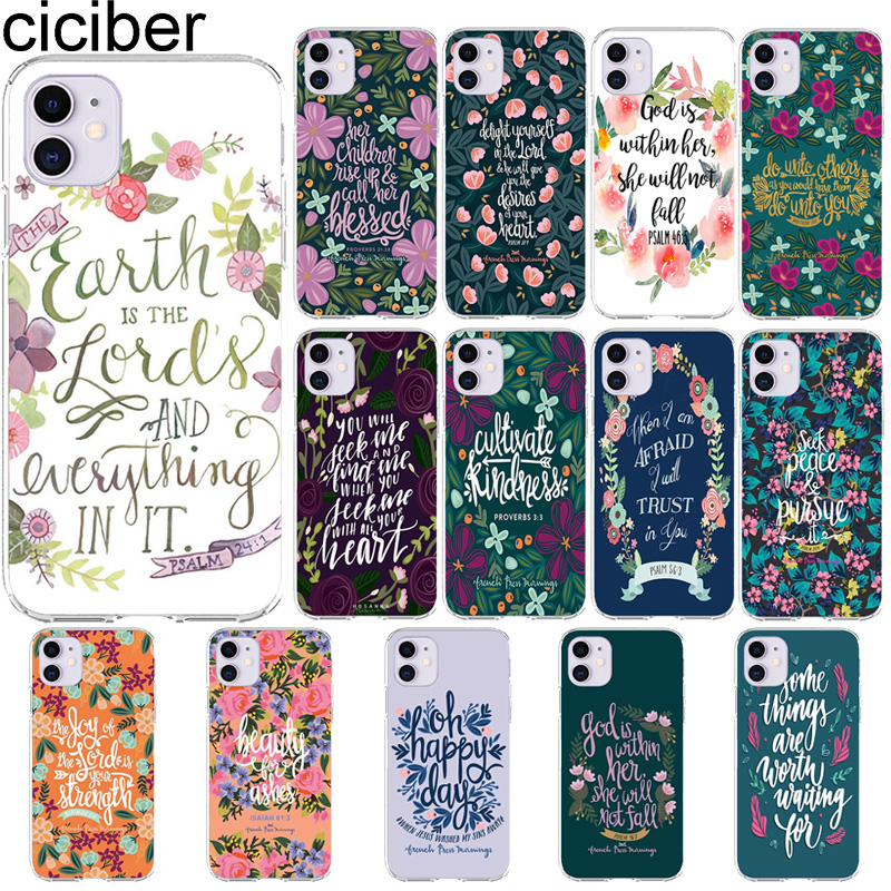 ciciber bible Quotes Cases For Iphone 11 Case For iPhone XR 11 Pro 7 X XS MAX 8 6 6S Plus 5S SE 2020 Silicone Cover Funda Coque image