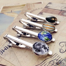 Solar System Sun Earth Moon Mars Jupiter Planet Silver Metal Tie Clips Men Fashion Simple Necktie Pin Bar Clasp Clip