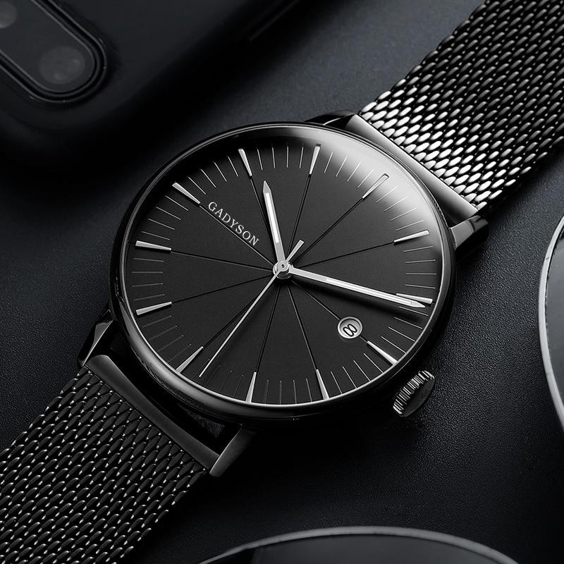 Fashion Business Watch Men Luxury Brand Gold Black Mesh Steel Quartz Watch For Man Minimalist Wrist Watches Relogio Masculino