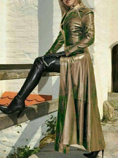 Купить женское длинное пальто из искусственной кожи байкерская куртка