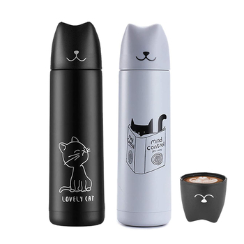 Cat Thermos for tea Stainless Steel 500Ml Water Insulated Bottle Vacuum Flask Hot Thermal Cooler Travel Coffee Mug Cup