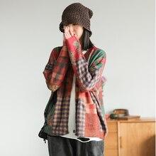 Outono Mulheres Camisola Moda Tricô Cardigan Solto casacos 2019 Novas Partes Superiores Das Senhoras bolso Impressão Camisola Ocasional Casaco Longo manga