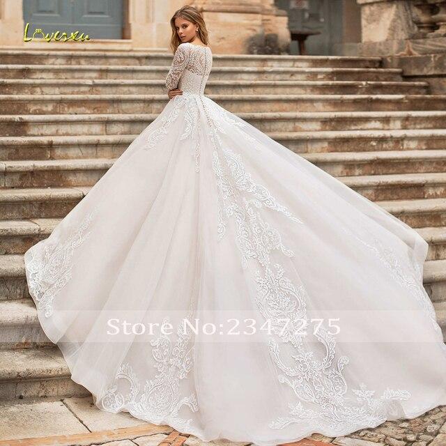 Loverxu Vestido De Noiva Long Sleeve Lace Vintage Wedding Dresses 2021 Sexy Illusion Appliques Court Train A Line Bridal Gowns 3