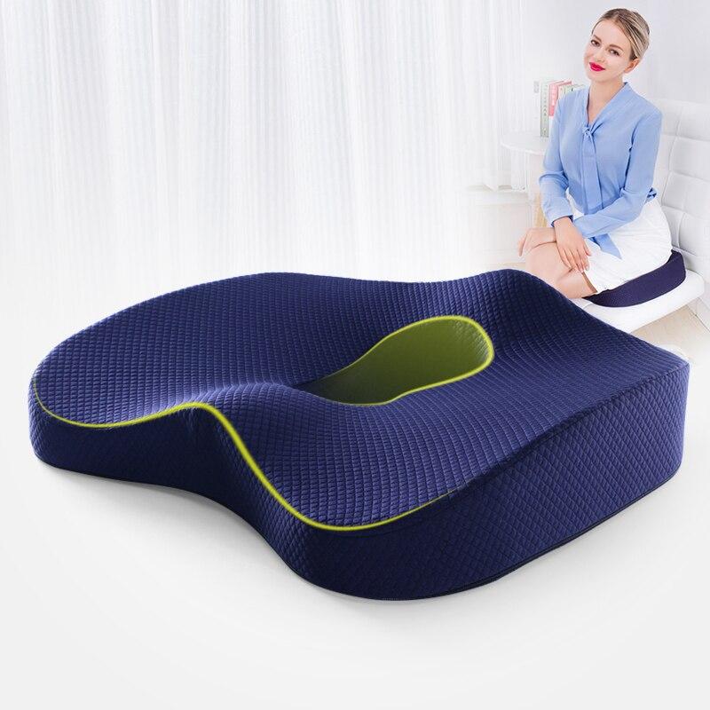 Espuma de memória almofada de assento ortopédico travesseiro cóccix cadeira de escritório almofada do assento de carro quadril cadeira de rodas quadris massagem vértebras
