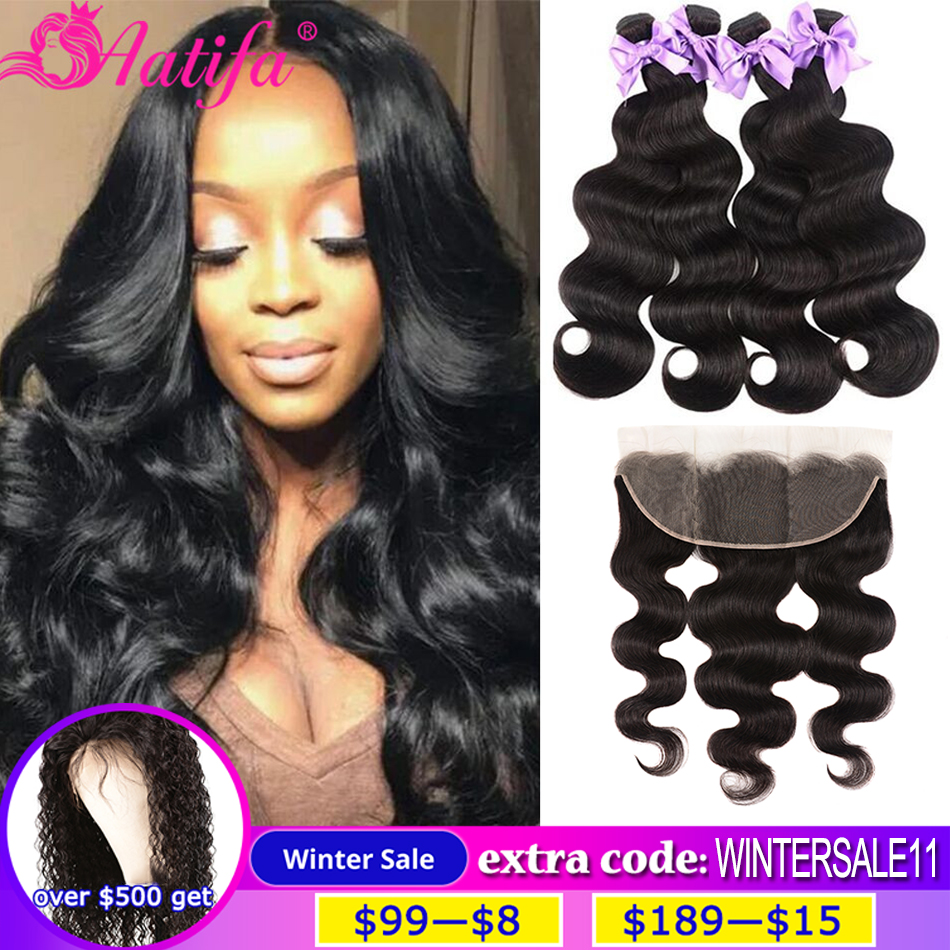 Brazilian Body Wave Bundles With Frontal 13x4/13x6 Transparent Lace Frontal Closure With Bundles Remy Frontal With Bundles title=