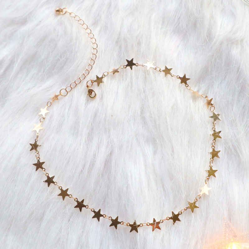 Japan And Korea Pink Love Pendant Gold Star Necklace Long Clavicle Chain For Woman Fashion Jewelry Wholesale