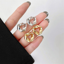 Retro Joker Gold silver color Triangle Stud Earrings 2021 New Tide Geometry Women Jewelry Party Accessories