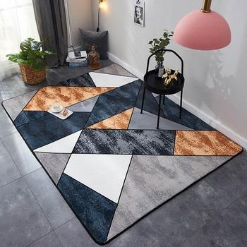 Alfombra rectangular de terciopelo de cristal, alfombra antideslizante de estilo geométrico y...