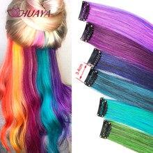 HUAYA Colorful Synthetic Hair Long Straight Hair Strands On Barrettes Clip In Hair Extensions kanekalons Fake Hair Pins