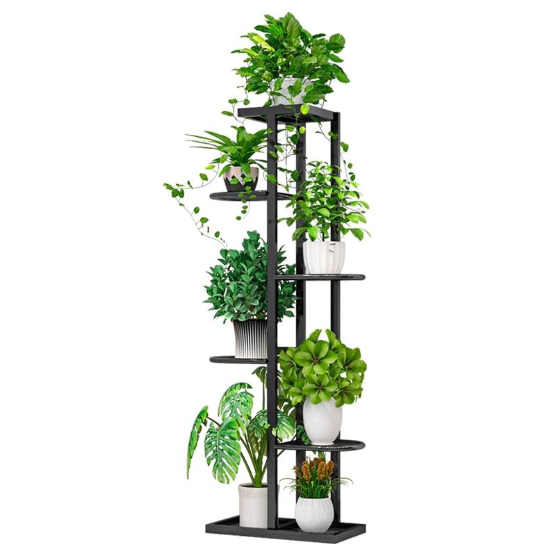 Floor flower stand Iron multi-layer living room balcony flower pot rack wall hanging green flower shelf