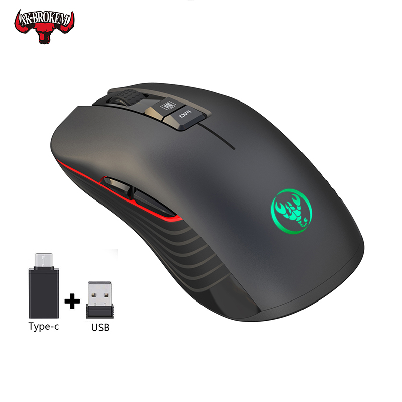 Wireless Gaming Mouse 2.4Ghz 2400DPI Adjustable LED Gamer Mice Rechargeable Wireless Mouse Optical Sens For Laptop Computer PC