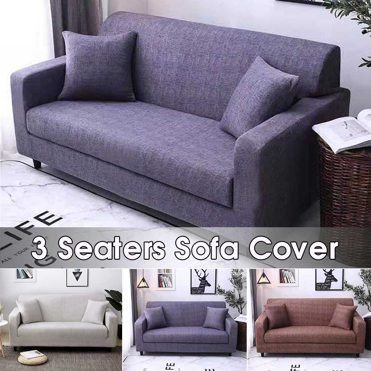 Solid Color Elastic Sofa Cover Modern Polyester Fiber Corner Sofa Couch Slipcover Chair Protector Living Room 3 Seater