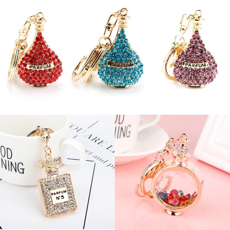 Twinkling Perfume Bottle Keychain Luxury Crystal Key Chain Fashion Key Ring Holder Keyring Women Souvenirs Car Bag Charm Pendant