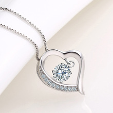 Pure 925 Silver Necklaces For Women Zirconia Heart Pendant Necklace Collier Femme Choker Fashion Jewelry Accesories Bijoux Gifts dream catche necklaces for women fashion jewelry dreamcatcher leaves pendant necklace choker collier bijoux vintage jewelry