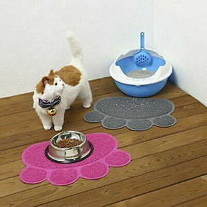 Pet Pad Dog Cat Feeding Water Food Dish Tray Cat Bowl Mat Placemat Wipe Clean Floor PVC