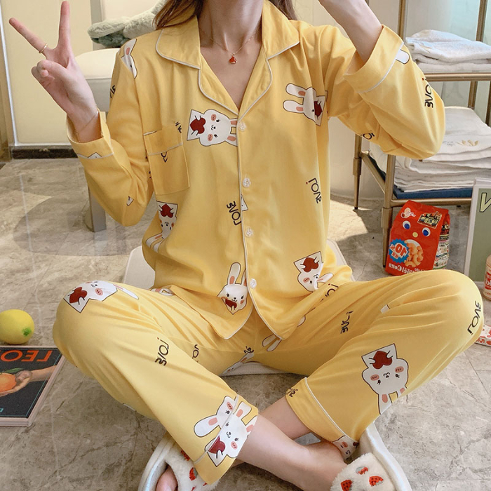 Female Yellow Pajama Sets For Spring Summer Long Sleeve & Pants 2 Pcs Cooton Lapel Pyjamas For Girls Casual Home Suits