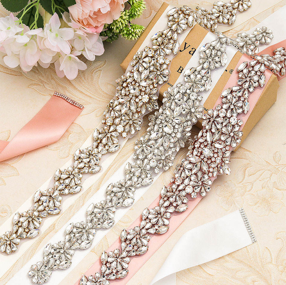 MissRDress Wedding Dress Belt Rhinestone Bridal Crystal Sash Rose Gold Diamond Bridal Belt For Women Wedding Belt Crystal JK911
