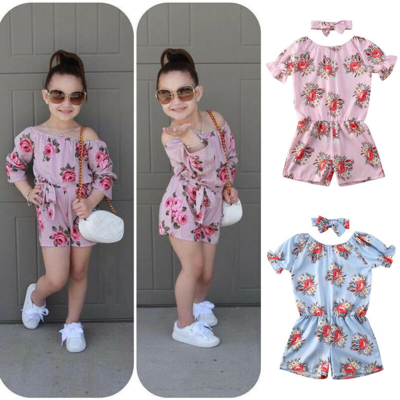 New Newborn Baby clothes Girls Rompers cute Floral Design Short Sleeve  Headband Cotton Kid Jumpsuit Playsuit Outfits Clothing-Leather bag
