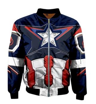America 3D Printed Superhero bomber jacket Captain Casual Mens Outdoor Sweatshirt Homme Stand Collar Zipper Clothes
