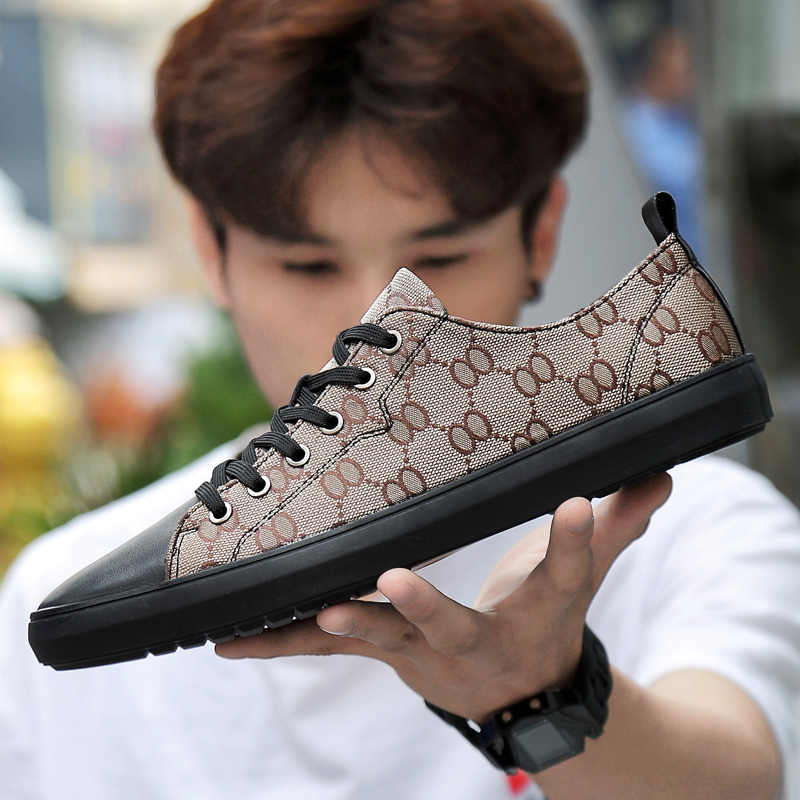 New Trend Men Genuine Leather + Canvas Casual Shoes Lace Up Fashion Male Shoes Men Leisure Outdoor Comfortable Shoes Large Size