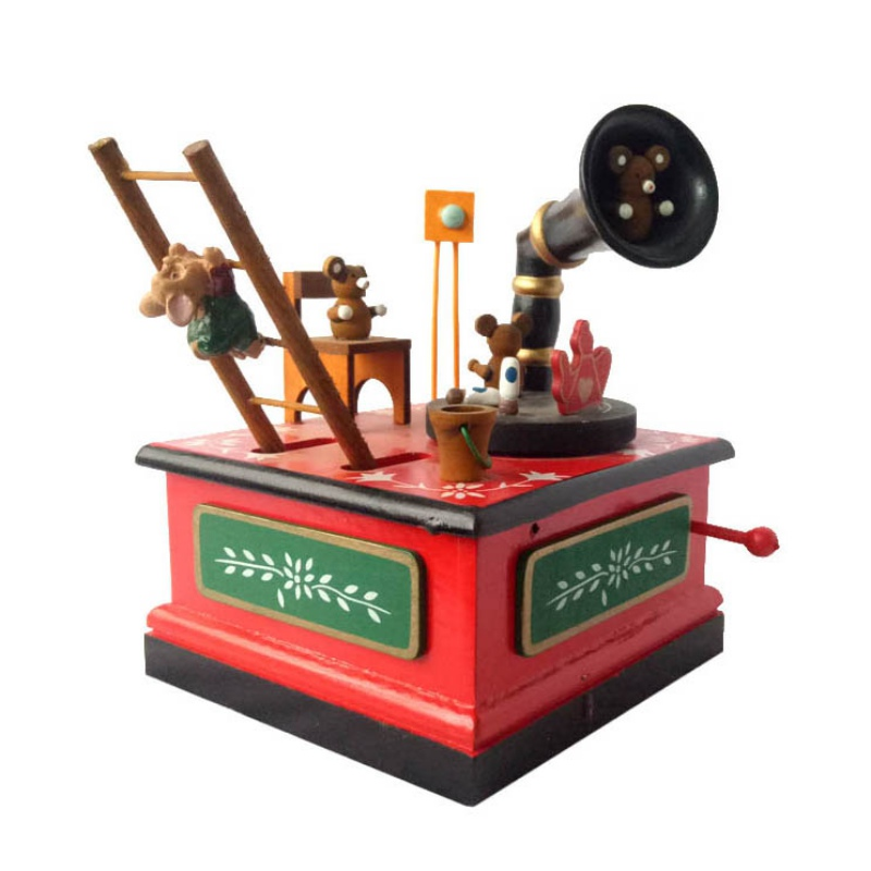 Permalink to Music Box Christmas Wooden Musical Box Cartoon Red Xmas Craft Ornament Figurines Swing Movement Music Box Gift For Children Pro