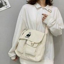 Panda embroidery canvas bag messenger bag men and women shoulder bag simple fashion messenger shoulder bag цена 2017
