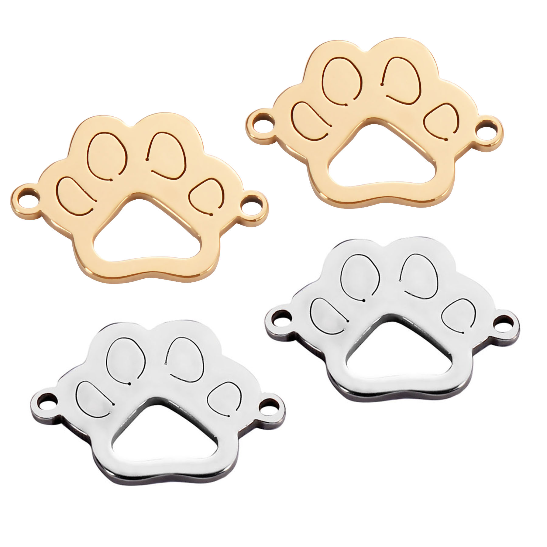 50pcs/lot Stainless Steel Charm Connector Dog Pet Paw Silver Gold Tone Pendants Jewelry Making DIY For Men Women