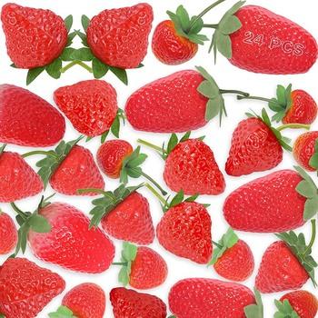 Symulacja truskawek sztuczne sztuczne truskawki symulacja fałszywy truskawkowy wystrój sztuczne owoce na truskawkowy wystrój tanie i dobre opinie CN (pochodzenie)
