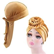 Unisex Long Tail Velvet durag and flower turban 2pcs set men durags women headscarf  Bandana Chemo Hat Headwear hairAccessories