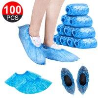 100 Pçs/set Propés Descartáveis de Plástico À Prova D' Água Bota Cobre Sapato Cobre Galochas De Plástico Descartável Salas Ao Ar Livre Do Carro