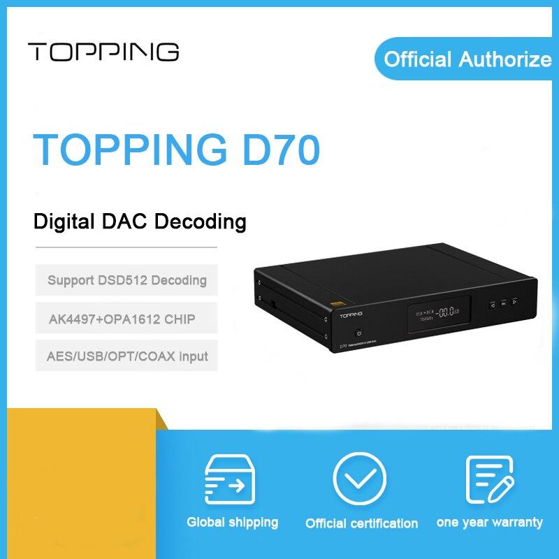 Topping D70 dac décodeur Bluetooth XMOS XU208 AK4497 puce coaxiale usb optique IIS entrée Balance xlr RCA sortie DSD512 amplificateur